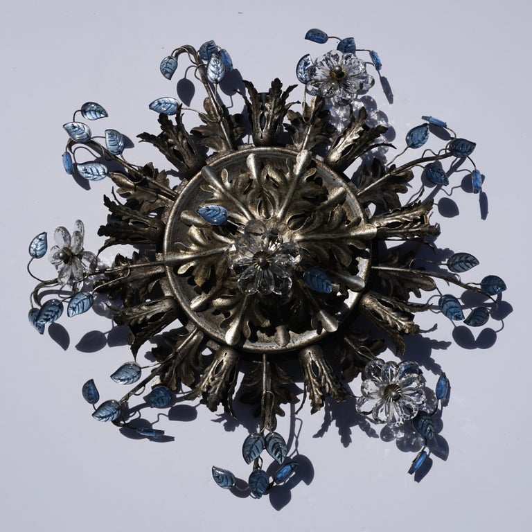 Italian Hollywood Regency Metal and Glass Flush Mount or Ceiling Lamp, 1970s For Sale 3