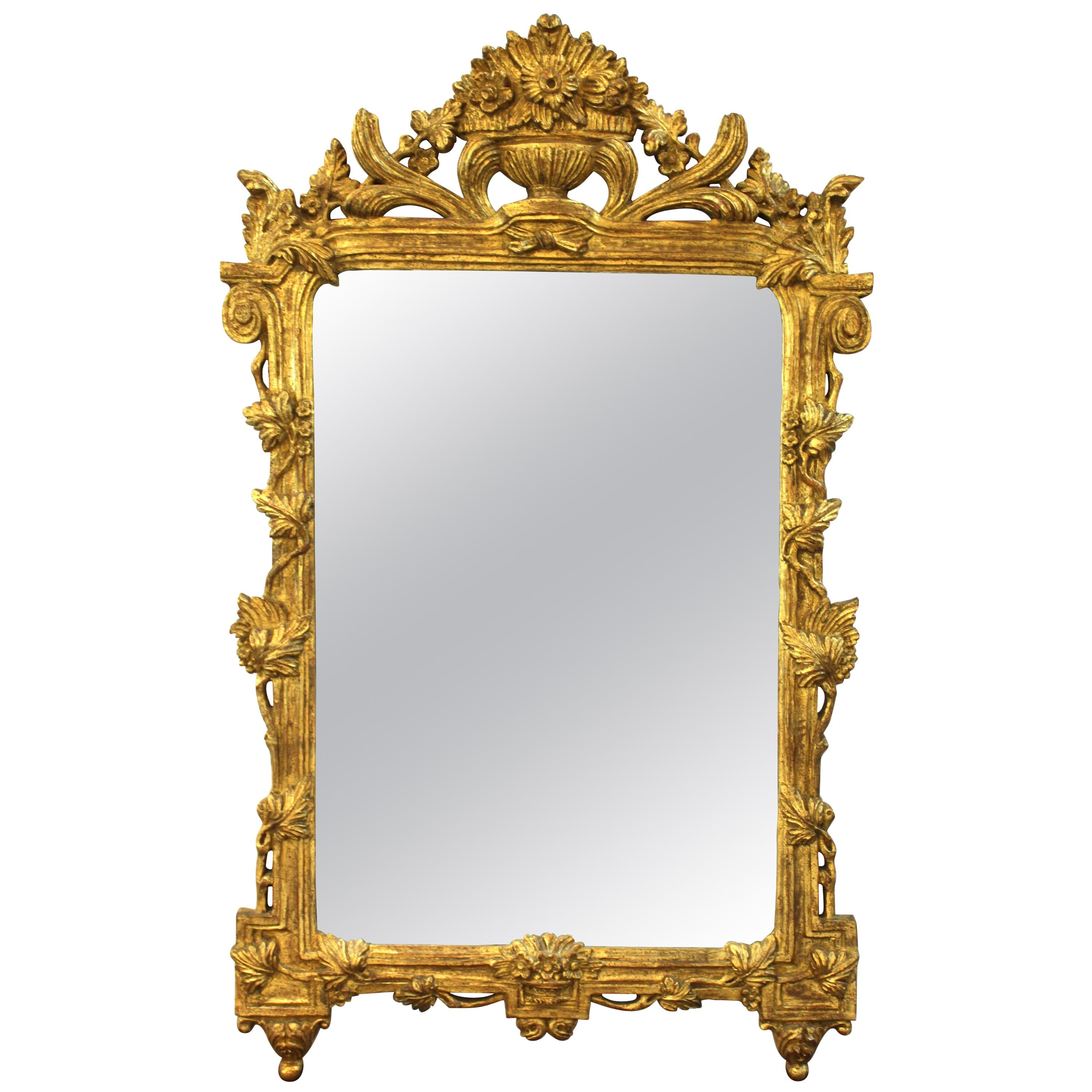Italian Hollywood Regency Mirror With Neoclassical Revival Gilt Frame