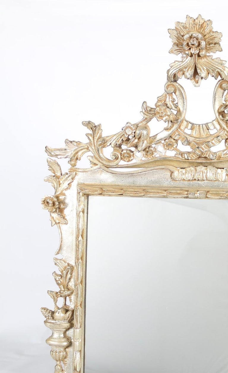Italian Hollywood Regency Mirror with Silver Leaf Finish For Sale 2