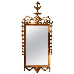 Italian Hollywood Regency Neoclassical Style Carved Giltwood Rectangular Mirror
