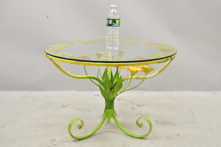 Italian Hollywood Regency Orange Yellow Round Iron Flower Small Coffee Table For Sale 5