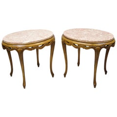 Italian Hollywood Regency Pink Oval Marble Pretzel Carved Side End Tables, Pair