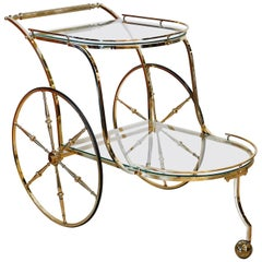 Italian Hollywood Regency Style Brass and Glass Two Tier Bar Cart or Trolley