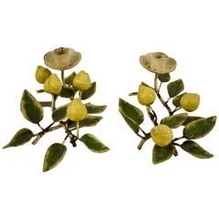 Italian Hollywood Regency Style Tôle Peinte Lemon Tree Candle Holders, Set of 2