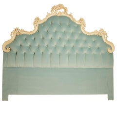 Italian Hollywood Regency Upholstered Headboard