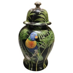 Italian Huge Craftmanship Ceramic Parrot Hand Painted Vase with Lid '2 of 2'
