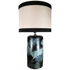 Italian Huge Craftsmanship Ceramic Batignani Lamp with Hand Painted Palm Leaves