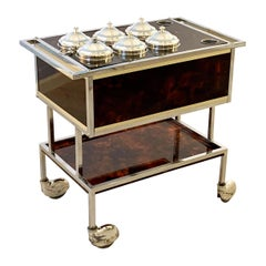 Italian Ice Cream Cart of Chrome and Faux Tortoise