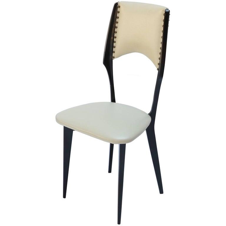 Italian Ico Parisi Style 1960s Ebonized Dining Chairs