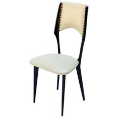 Italian Ico Parisi Style 1960s Ebonized Wood Dining Chairs in Beige Leather