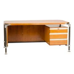 Italian Ico Parisi Veenered Walnut Writing Desk, circa 1960