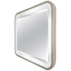 Italian Illuminated Backlit Rectangular Mirror, White, Italy, 1970s Midcentury