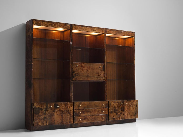 Art Deco Italian Illuminated Goatskin Cabinet, 1940s For Sale