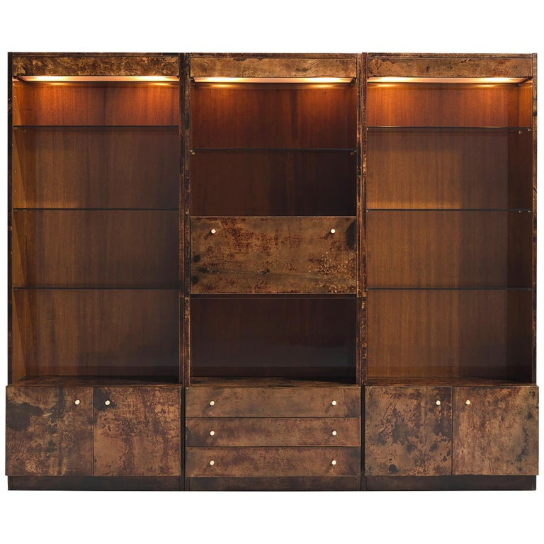 Italian Illuminated Goatskin Cabinet, 1940s For Sale