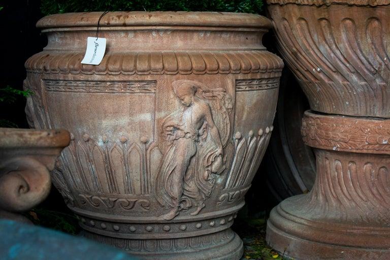 Hand-Crafted Italian Impruneta Terracotta Vase with Female Figure in Relief