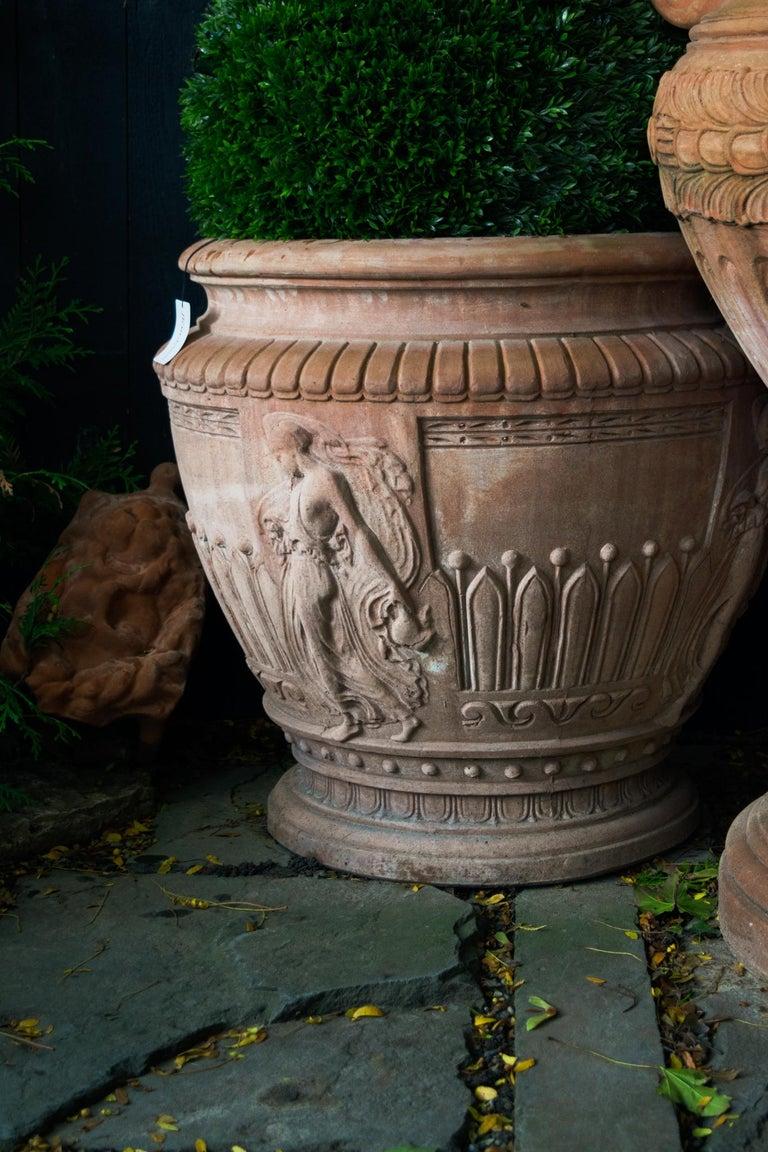 Italian Impruneta Terracotta Vase with Female Figure in Relief In Good Condition In Bloomfield Hills, MI