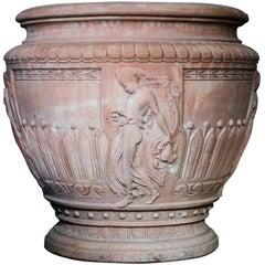 Italian Impruneta Terracotta Vase with Female Figure in Relief