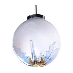 "Italian ""Indented"" Blown Glass Globe Pendant Light"