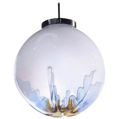 "Italian ""Indented"" Blown Glass Globe Pendant Light"