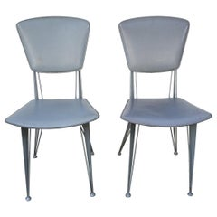Italian Industrial Metal with Leather Chairs