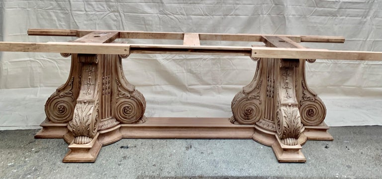 Italian Inlaid Carved Walnut Dining Table with Leaf For Sale 6