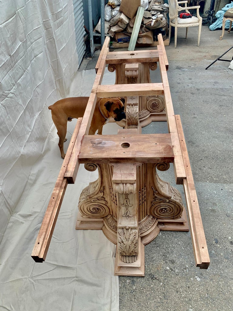 Italian Inlaid Carved Walnut Dining Table with Leaf For Sale 11