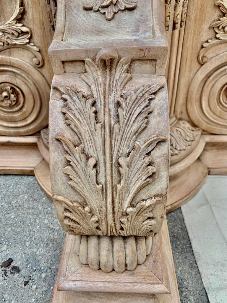 Italian Inlaid Carved Walnut Dining Table with Leaf For Sale 13