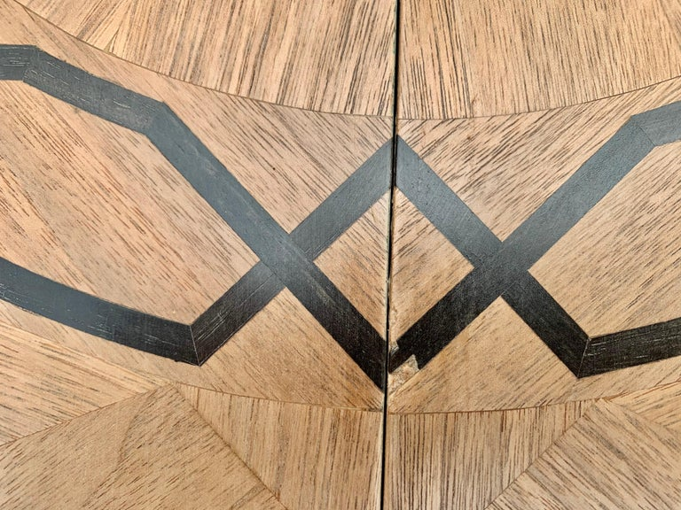 Italian Inlaid Carved Walnut Dining Table with Leaf For Sale 3