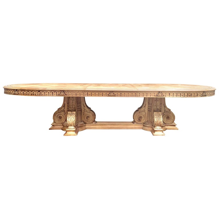 Italian Inlaid Carved Walnut Dining Table with Leaf For Sale