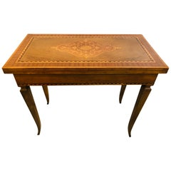 Italian Inlaid Folding Game or Card Table