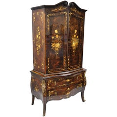 Italian Inlaid French Louis XV Style Bombe Armoire Tall Chest by Roma Furniture