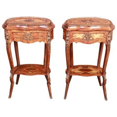 Italian Inlaid Mahogany and Satinwood Kidney Shaped Nightstands, Pair