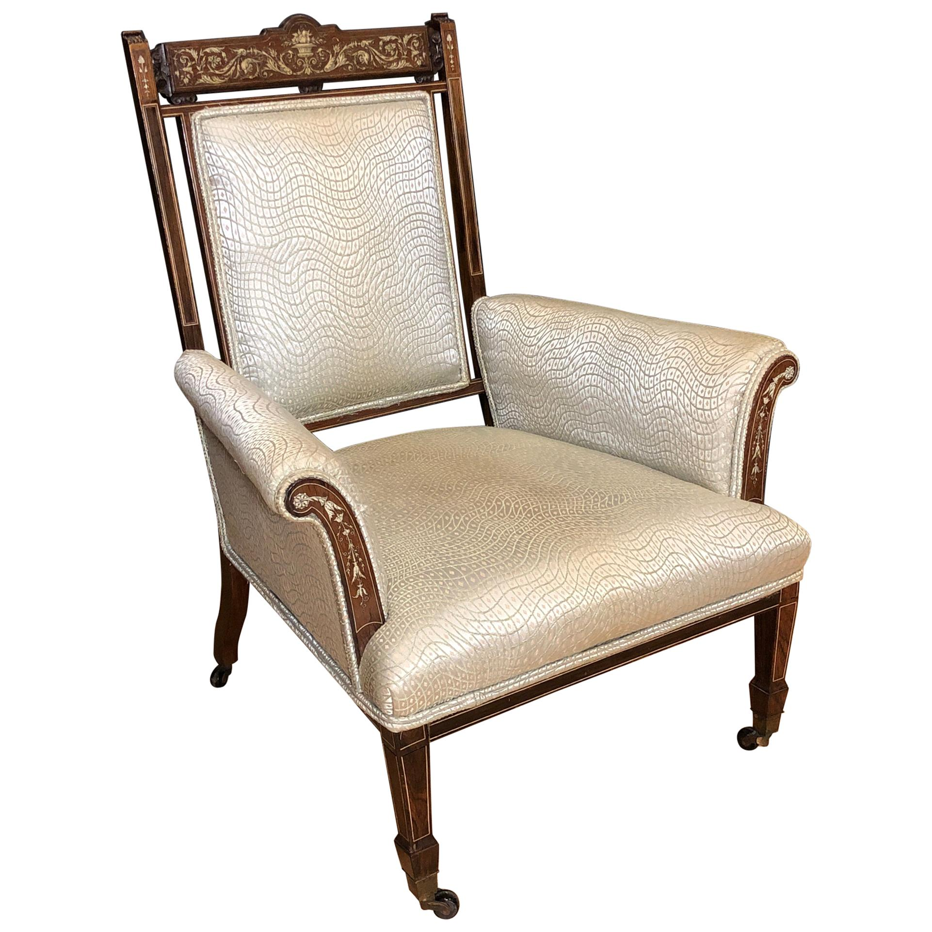Italian Inlaid Marquetry and Rosewood Armchair