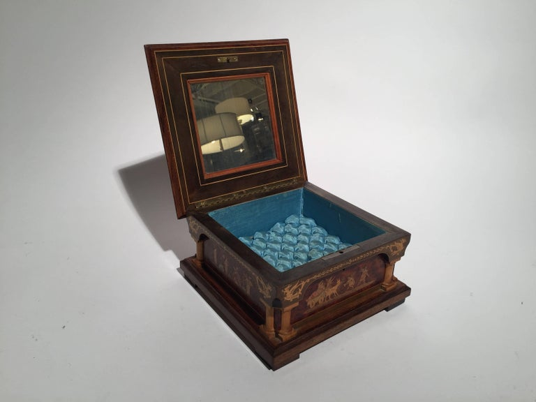 20th Century Italian Inlaid Neoclassical Musical Jewelry Box For Sale
