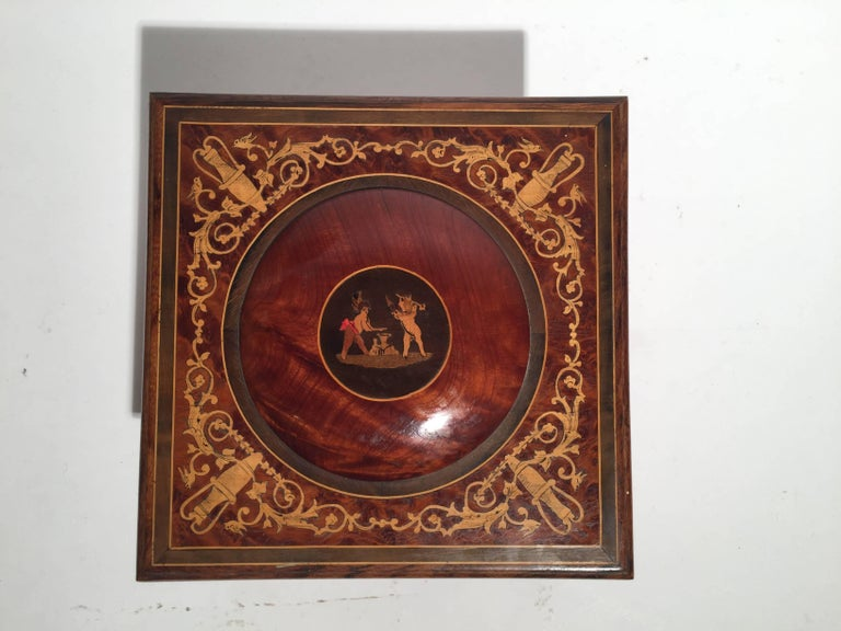 Italian Inlaid Neoclassical Musical Jewelry Box For Sale 1