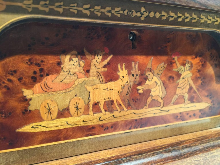 Italian Inlaid Neoclassical Musical Jewelry Box For Sale 4