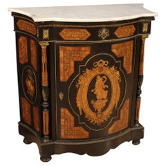 Italian Inlaid Sideboard with Marble Top, 20th Century