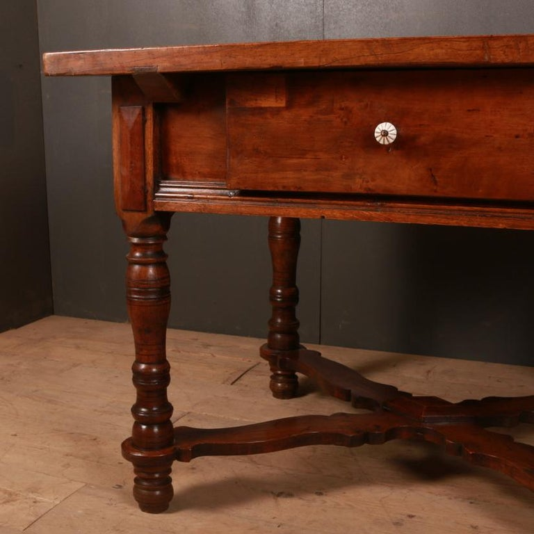 Polished Italian Inlaid Walnut Center Table For Sale