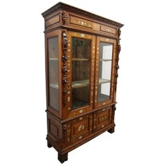 Italian Inlaid Walnut Display Cabinet or Bookcase, circa 1850