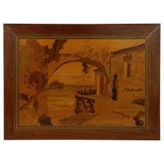 Italian Inlaid Wood(Marquetry) Neapolitan Terrace View Wall Panel