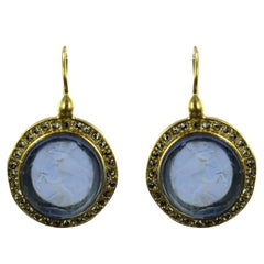 Italian Intaglio and Blue Stone Crystals Lever-Back Earrings