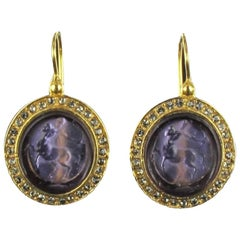 Italian Intaglio and Crystals Lever-Back Earrings