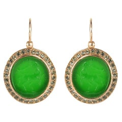 Italian Intaglio and Green Stone Crystals Lever-Back Earrings