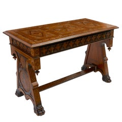 Italian Intarsia Side Table with Geometric Inlaid Top, circa 1850