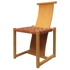 Italian Interwined Leather and Beech Chair from 1980s
