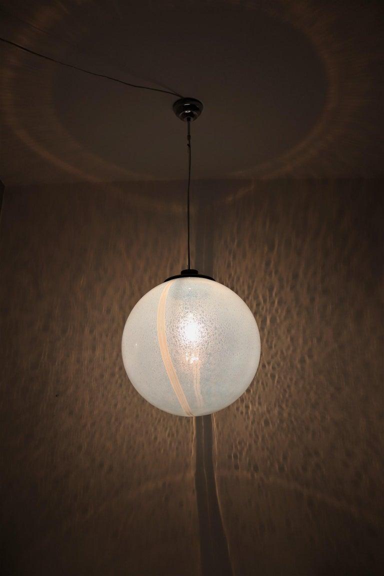 Italian Iridescent Murano Glass and Chrome Sphere Pendant Chandelier, 1970s For Sale 5