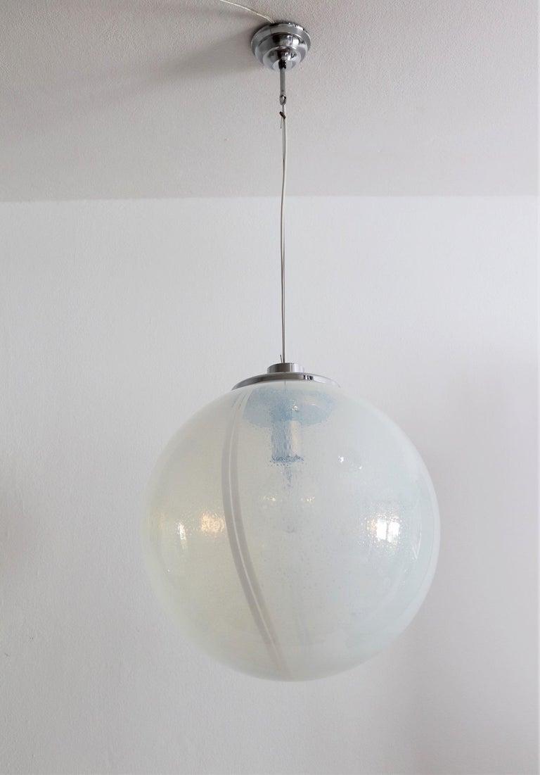 Italian Iridescent Murano Glass and Chrome Sphere Pendant Chandelier, 1970s For Sale 9