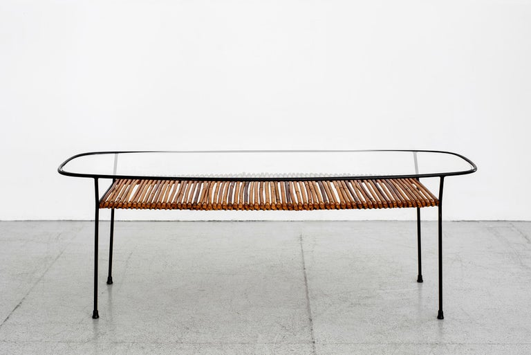 Italian Iron and Bamboo Coffee Table For Sale 9