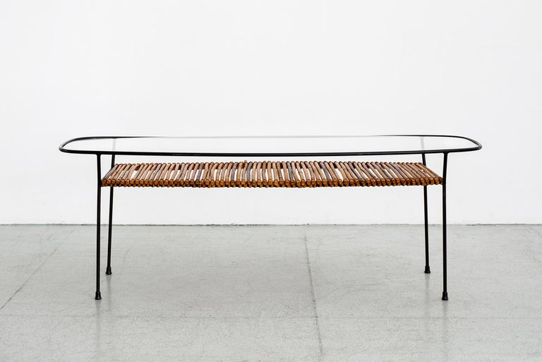 Italian Iron and Bamboo Coffee Table In Good Condition For Sale In Los Angeles, CA