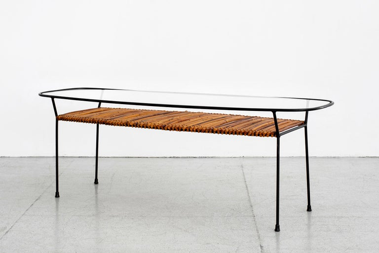 Mid-20th Century Italian Iron and Bamboo Coffee Table For Sale